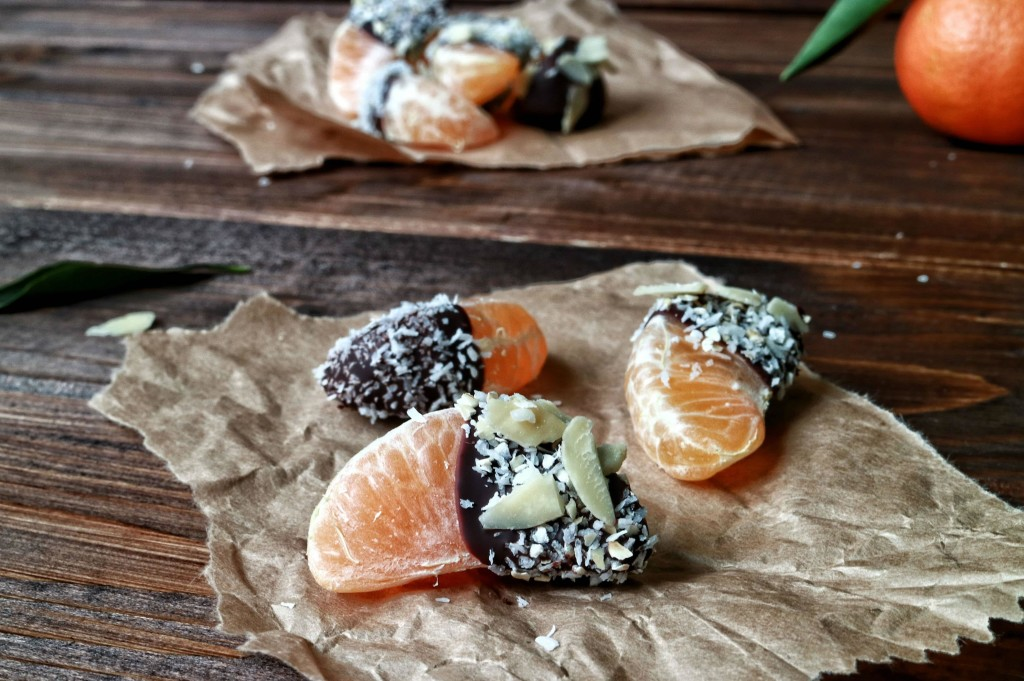 Mandarini ricoperti di cioccolato fondente